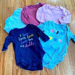 Bundle of 5 Girls Long Sleeve Onesies